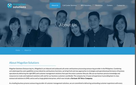 Screenshot of About Page magellan-solutions.com - About Us | Magellan Solutions Philippines - captured July 10, 2018