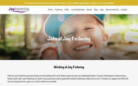 Screenshot of Jobs Page jayfostering.com - Jobs // Jay Fostering - captured Oct. 13, 2018