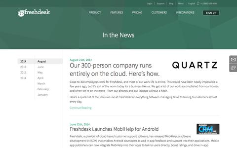 Screenshot of Press Page freshdesk.com - Freshdesk in the News | Press Releases and Announcements about Freshdesk - captured Dec. 17, 2014