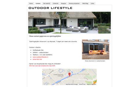 Screenshot of Contact Page outdoorlifestyle.nl - Outdoor Lifestyle onze contact gegevens - De specialist voor exclusieve loungemeubelen in Zuid Holland - captured Oct. 7, 2014