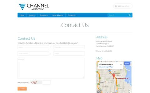 Screenshot of Contact Page channelmedsystems.com - Channel Medystems is a clinical-stage medical technology company based in San Francisco | Channel Medsystems - captured July 19, 2014