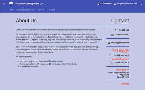 Screenshot of About Page pacbiodev.com - About Us | Pacific BioDevelopment, LLC - captured July 11, 2017