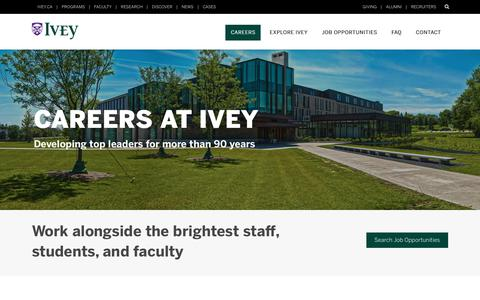 Screenshot of Jobs Page uwo.ca - Ivey Human Resources | Ivey Business School - captured July 6, 2018
