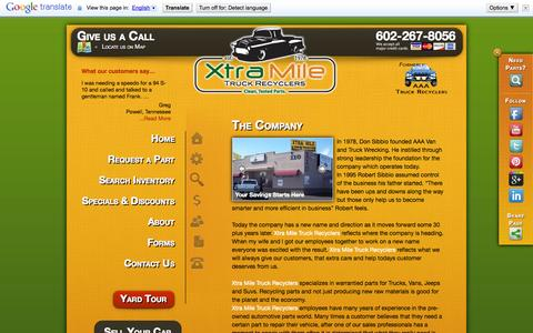 Screenshot of About Page xtramiletruckrecyclers.com - About Xtra Mile Truck Recyclers - captured Oct. 27, 2014