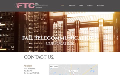Screenshot of Home Page failcorp.com - Fail Telecommunications Corporation | Home | Bay Springs, MS - captured Oct. 13, 2017