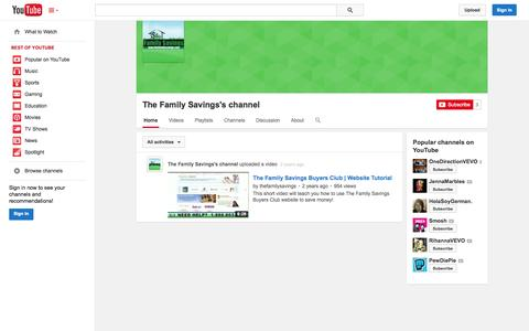 Screenshot of YouTube Page youtube.com - The Family Savings's channel  - YouTube - captured Oct. 26, 2014