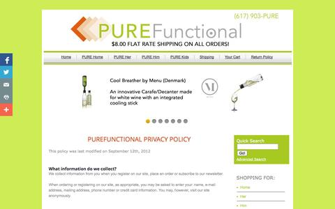 Screenshot of Privacy Page purefunctional.com - PUREFunctional - Privacy Policy - captured Oct. 3, 2014