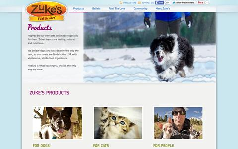 Screenshot of Products Page zukes.com - Zuke's - Delicious, all-natural pet treats for dogs and cats - Zuke's – Healthy, Natural Dog Treats and Treats for Cats - captured Sept. 22, 2014