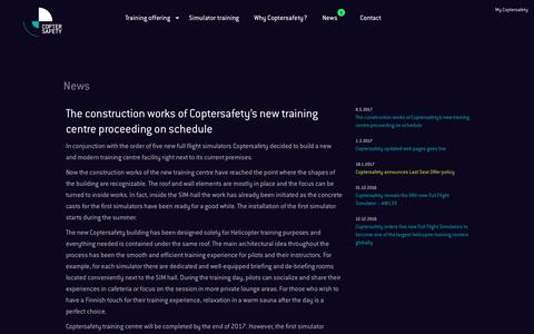 Screenshot of Press Page coptersafety.com - The construction works of Coptersafety's new training centre proceeding on schedule - Coptersafety - captured May 22, 2017
