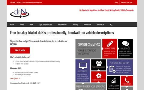 Screenshot of Trial Page dealerassistnow.com - Free 10-day Trial - Custom Handwritten Vehicle Descriptions - captured Jan. 7, 2016