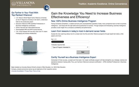 Screenshot of Landing Page villanovau.com - Online Business Intelligence Training – Villanova University Online - captured Dec. 17, 2015