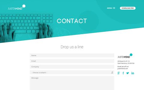 Screenshot of Contact Page justinmind.com - Interactive wireframes made easy. Get in touch with us! - captured July 20, 2014