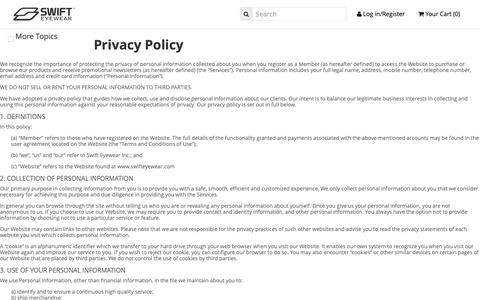 Screenshot of Privacy Page swifteyewear.com - Privacy Policy | Prescription glasses online - captured Oct. 18, 2018