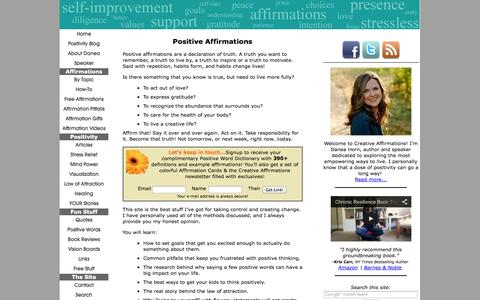 Screenshot of Home Page creativeaffirmations.com - Creative Affirmations, Living the Best You! - captured Sept. 22, 2014