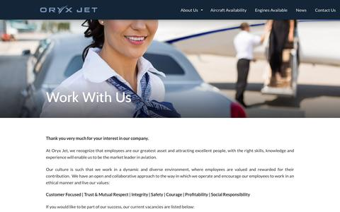 Screenshot of Jobs Page oryxjet.com - Work With Us | Oryx Jet - captured Feb. 28, 2016
