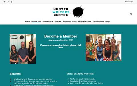 Screenshot of Signup Page hunterwriterscentre.org - Join – Hunter Writers Centre - captured Oct. 29, 2018