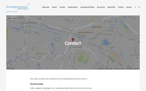 Screenshot of Contact Page gevangenenzorg.nl - Neem contact op met Gevangenenzorg Nederland - captured Nov. 6, 2016