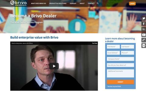Screenshot of Signup Page brivo.com - Become a Brivo Dealer - Brivo - captured Feb. 8, 2016