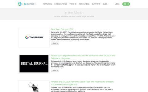 Screenshot of Press Page skuvault.com - SkuVault Warehouse Management System · In the Media - captured June 15, 2018