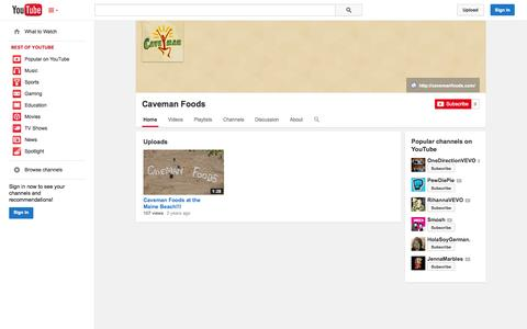 Screenshot of YouTube Page youtube.com - Caveman Foods  - YouTube - captured Oct. 22, 2014
