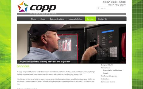 Screenshot of Services Page copp.com - Services | Copp Integrated Systems - captured Oct. 27, 2014