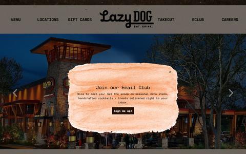Screenshot of Home Page lazydogrestaurants.com - Lazy Dog Restaurant & Bar - captured July 21, 2017