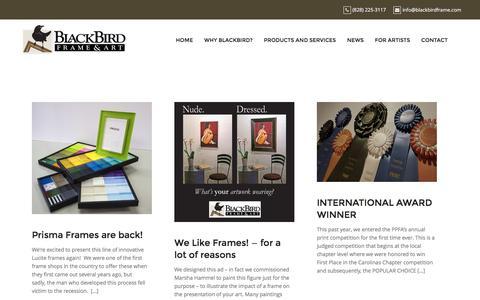 Screenshot of Press Page blackbirdframe.com - News – BlackBird Frame and Art - captured Nov. 22, 2016