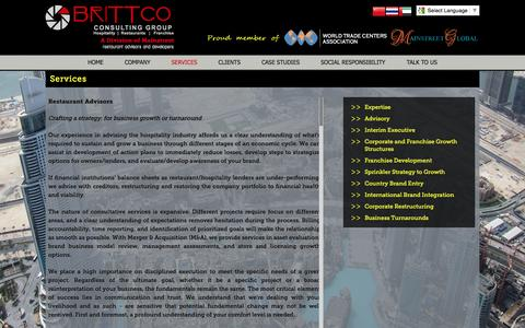 Screenshot of Services Page brittcoconsulting.com - Services - captured Feb. 8, 2016