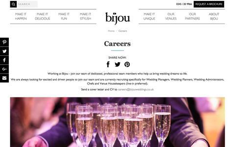 Screenshot of Jobs Page bijouweddingvenues.co.uk - Careers | Bijou Wedding Venues - captured Oct. 10, 2017