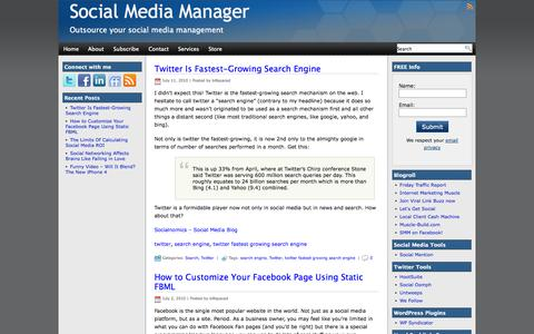 Screenshot of Home Page social-media-manager.biz - Social Media Manager and SEO Specialist - captured Sept. 30, 2014