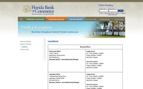 Screenshot of Locations Page fbcbank.com - Florida Bank of Commerce - Locations - captured Nov. 25, 2016