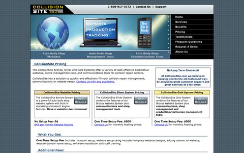 Screenshot of Pricing Page collisionsite.com - CollisionSite.com Services | Auto Body Shop Management Tools | Websites - captured Oct. 3, 2014