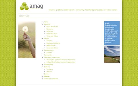 Screenshot of Site Map Page amagpharma.com - Sitemap | AMAG Pharmaceuticals - captured Oct. 4, 2014