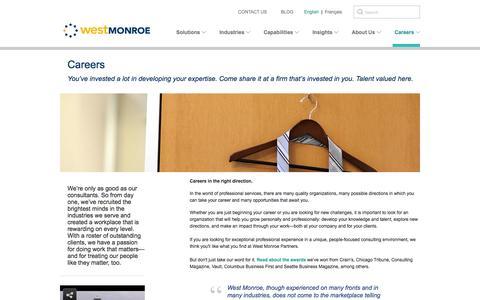Screenshot of Jobs Page westmonroepartners.com - Careers - captured Sept. 23, 2014