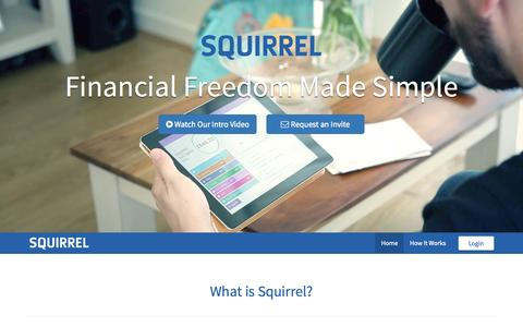 Screenshot of Home Page squirrel.me - Squirrel - Financial Freedom Made Simple - captured Aug. 13, 2015