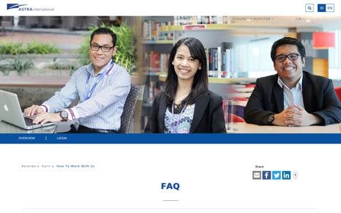 Screenshot of FAQ Page astra.co.id - Astra International   Karir - How To Work With Us - FAQ - captured July 10, 2017