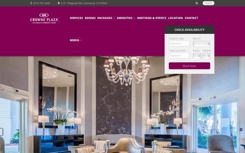 Screenshot of Home Page cpccla.com - Crowne Plaza Hotel at Commerce Casino Los Angeles - captured Feb. 1, 2016