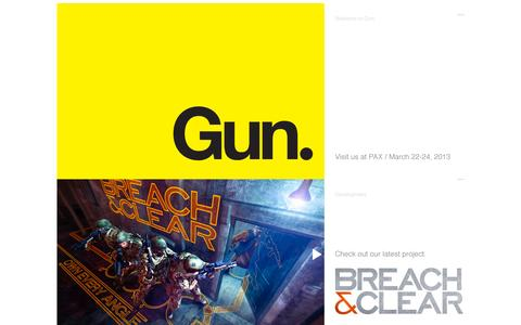 Screenshot of Home Page fearthegun.com - Gun - Video Game Think Tank and Publisher - captured Oct. 3, 2014