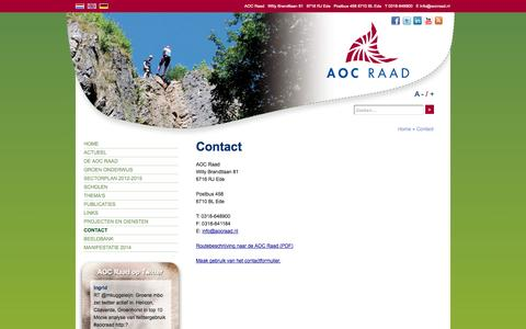 Screenshot of Contact Page aocraad.nl - Contact - AOC Raad 2014 - captured Sept. 30, 2014