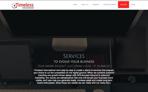 Screenshot of Services Page timelessict.com - Services - Timeless International - captured Oct. 18, 2018