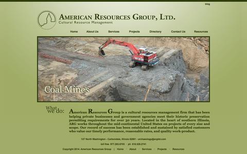 Screenshot of Home Page argltd.com - American Resources Group, LTD. - captured Oct. 4, 2014