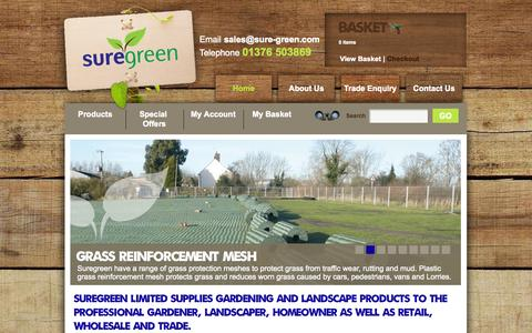 Screenshot of Home Page sure-green.com - Suregreen | Plastic Mesh | Garden Netting | Fencing | Grass Reinforcement | Wire Netting - captured Sept. 25, 2014