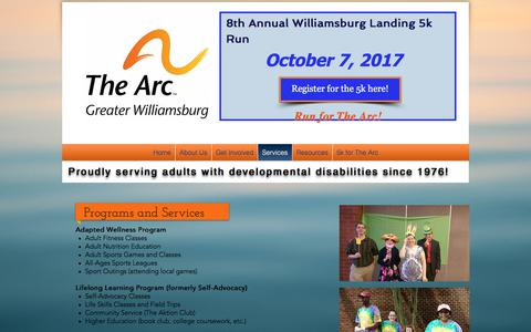 Screenshot of Services Page thearcgw.org - The Arc of Greater Williamsburg | Services - captured July 6, 2017