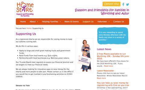 Screenshot of Support Page wahomestart.org.uk - Supporting Us | Worthing and Adur Homestart - captured Jan. 31, 2016