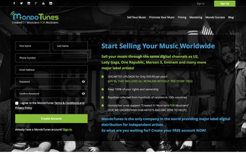 Screenshot of Signup Page mondotunes.com - Sign Up | MondoTunes - captured June 16, 2017