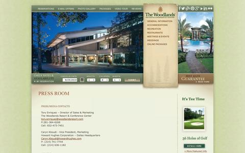 Screenshot of Press Page woodlandsresort.com - The Woodlands Resort | Texas Resort | Resorts Near Houston - captured Sept. 25, 2014
