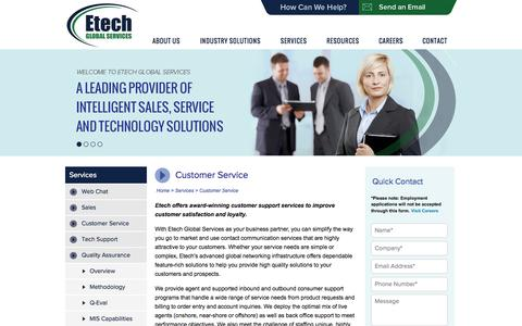 Screenshot of Support Page etechgs.com - Customer Contact Services and Support | Etech Global Services - captured Sept. 19, 2014