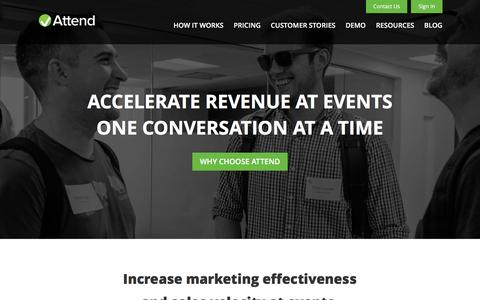 Screenshot of Home Page attend.com - Accelerate Revenue Through Events | Attend - captured Feb. 6, 2016