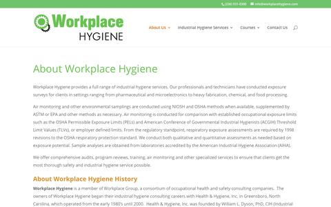 Screenshot of About Page workplace-hygiene.com - About Workplace Hygiene - Workplace Hygiene - captured Nov. 9, 2018