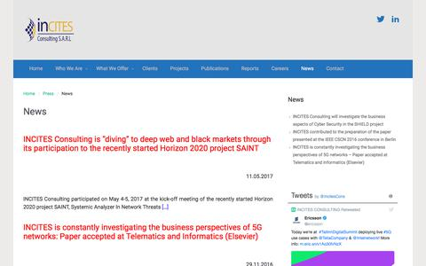 Screenshot of Press Page incites.eu - News | - captured Oct. 2, 2017